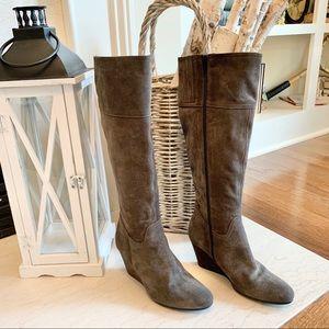 Garnet Hill Suede Wedge Boot - EUC